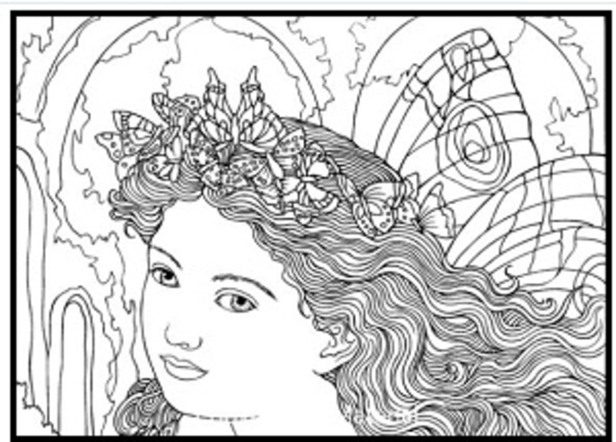 Victorian Paintings Fairy Coloring Page Sample