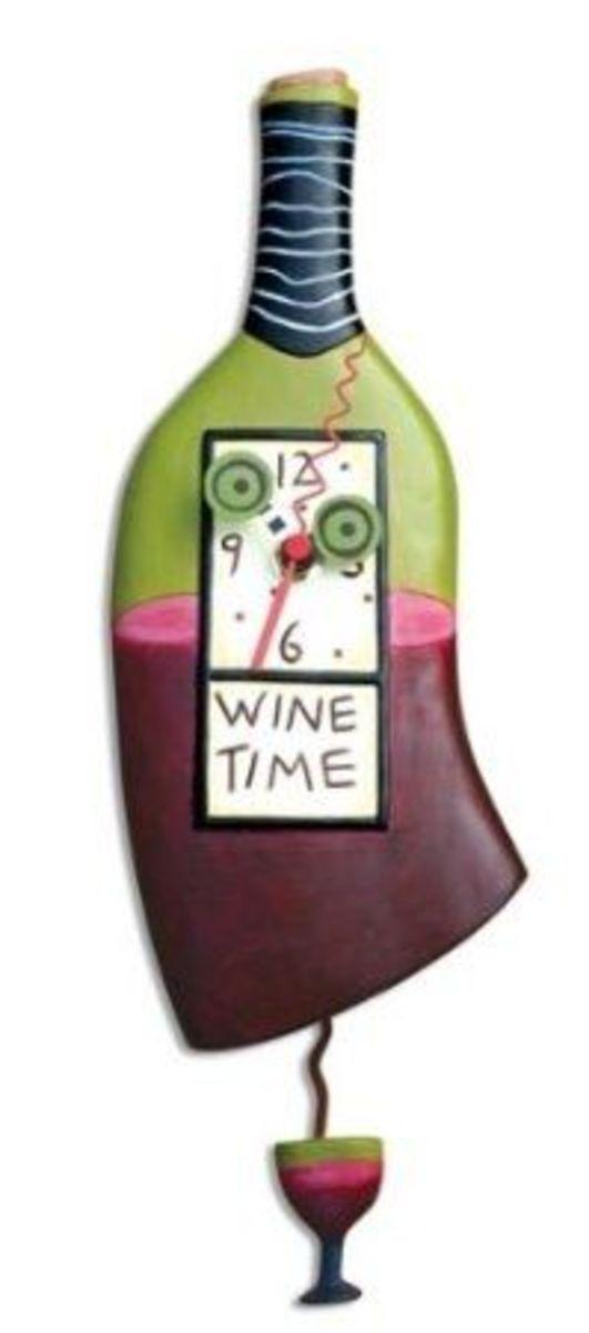 Allen Designs Wine Time Pendulum Wall Clock