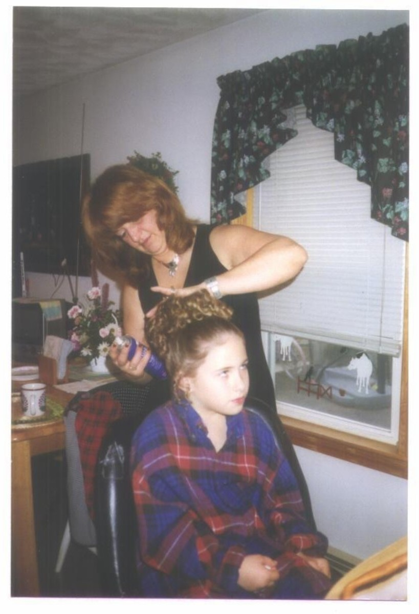 Barbara and my daughter Tracey/getting ready for First Communion