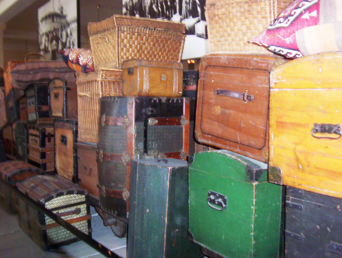 Trunks donated by the children of immigrants to Ellis Island
