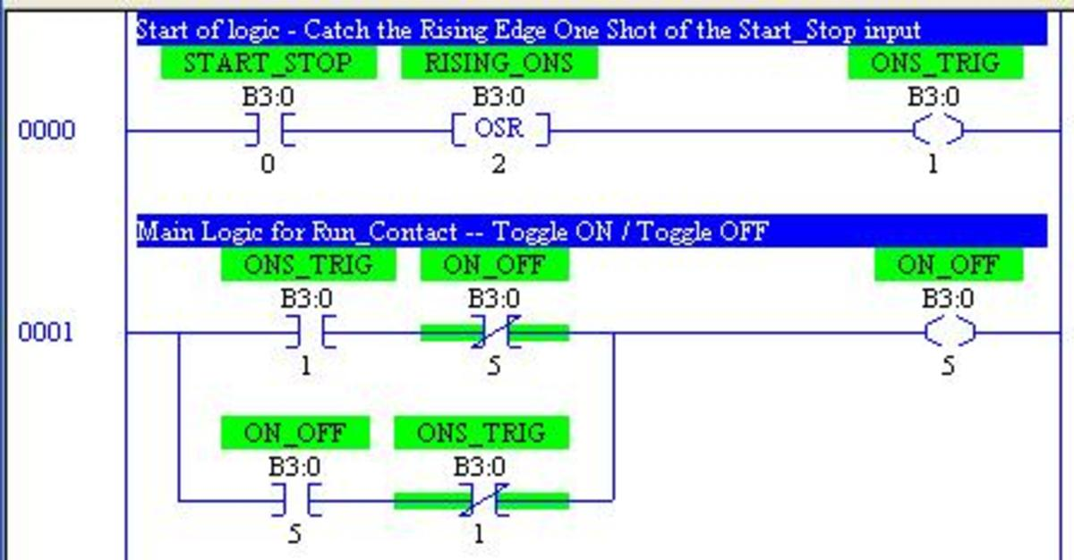 This graphic shows the typical ladder diagram technique for implementing the Toggle On / Toggle OFF with a sinlge input.