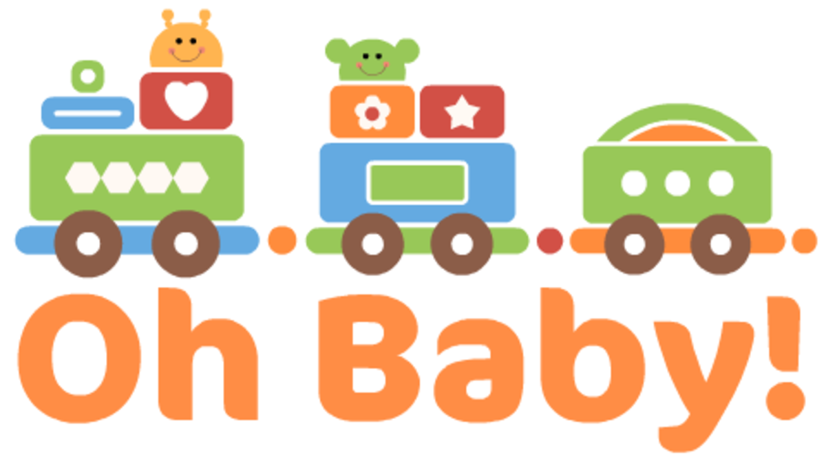 """Oh Baby"" free baby clipart with colorful train"
