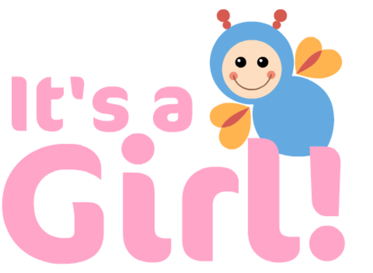 """It's a Girl!"" baby clipart with bee"