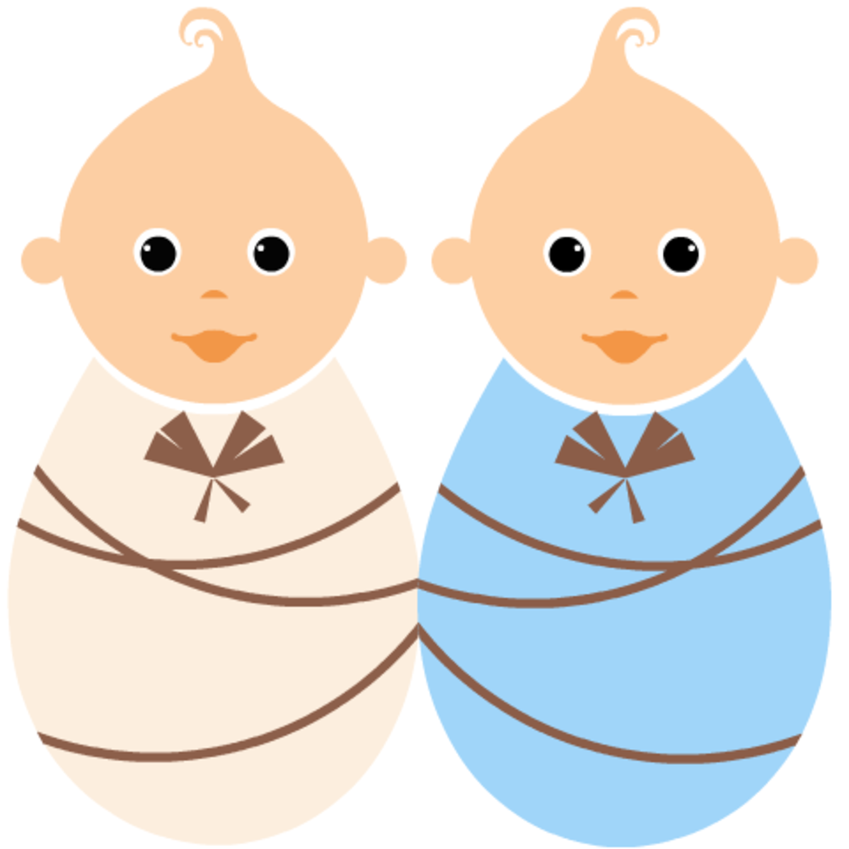 Free baby clipart: boy and girl twins
