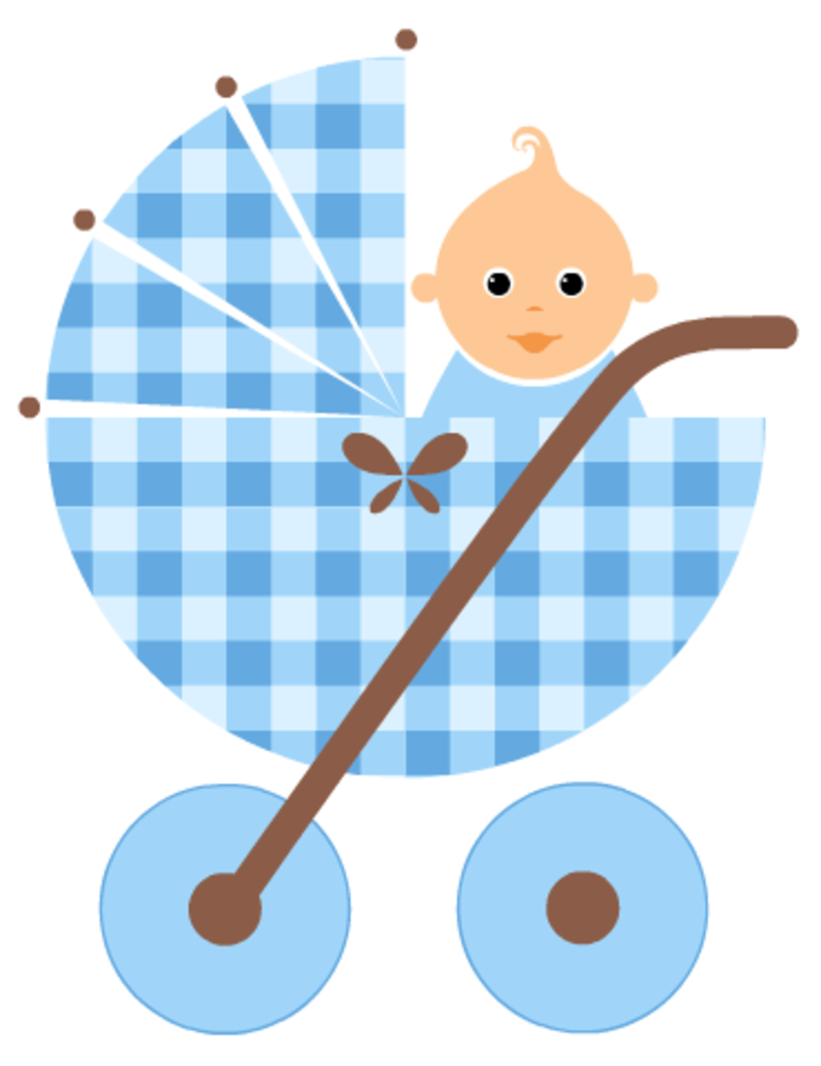 Baby clipart: baby in a blue baby carriage
