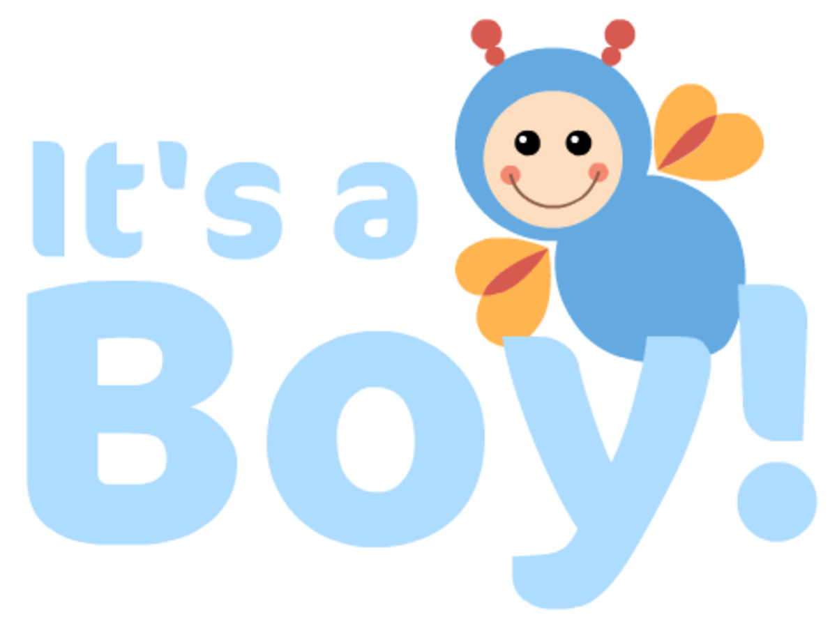 """It's a Boy!"" baby clipart with bees"