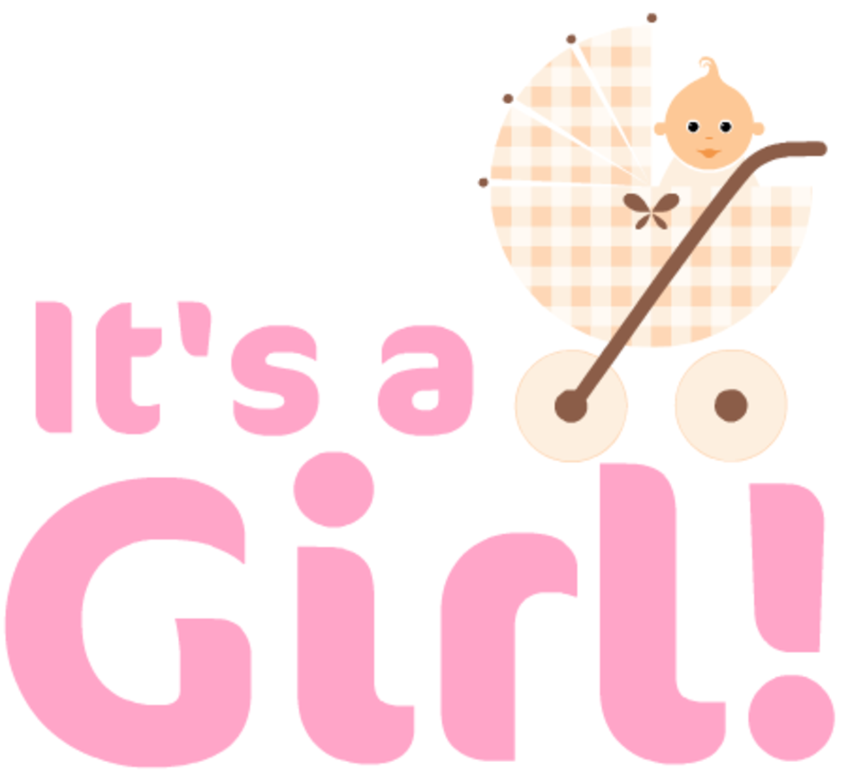 """It's a Girl!"" free baby clipart with beige baby carriage"