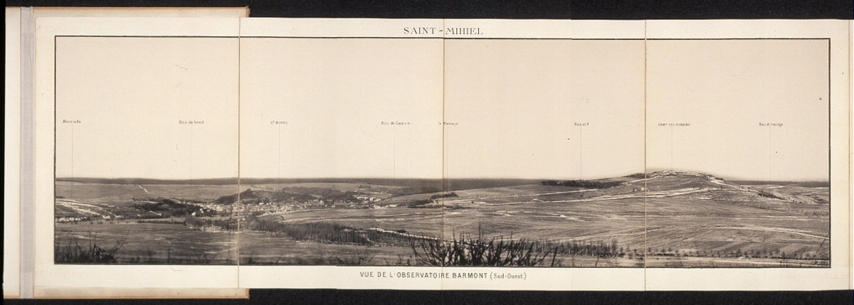 Saint Mihiel view from the Barmont observatory southwest France. 1918.