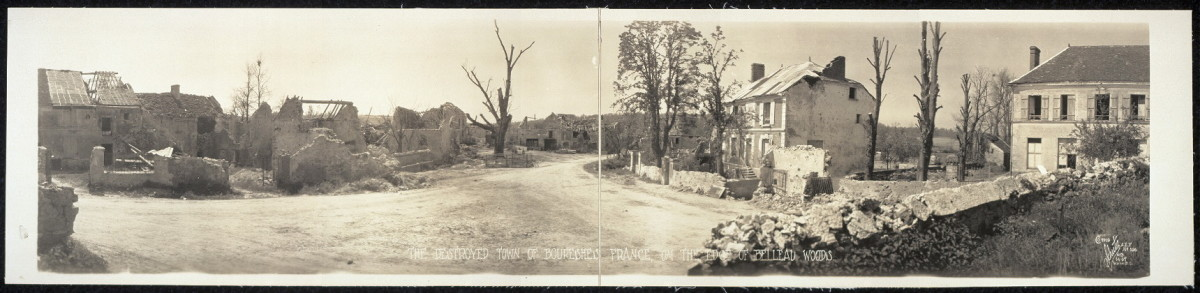 The Destroyed town of Boureshes, France, on the edge of Belleau Woods  1918