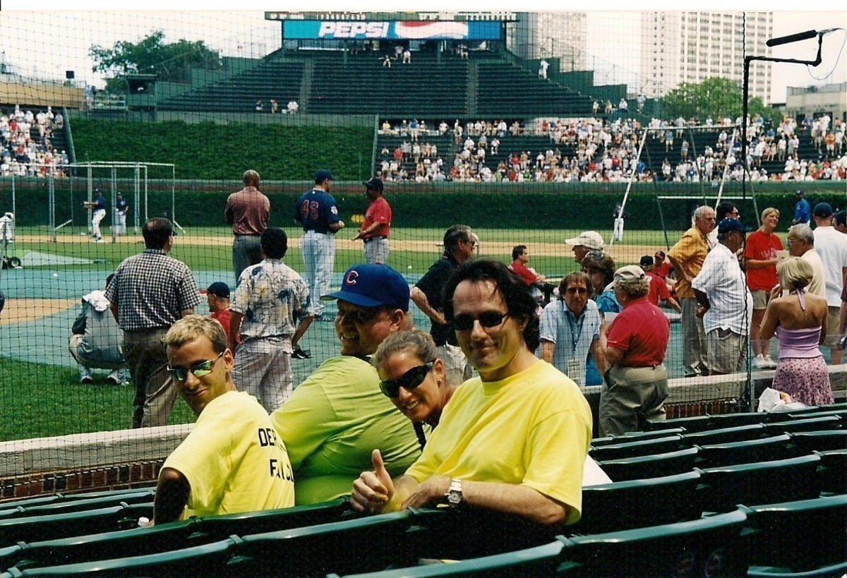 THE AUTHOR AT WRIGLEY WITH HIS FAMILY