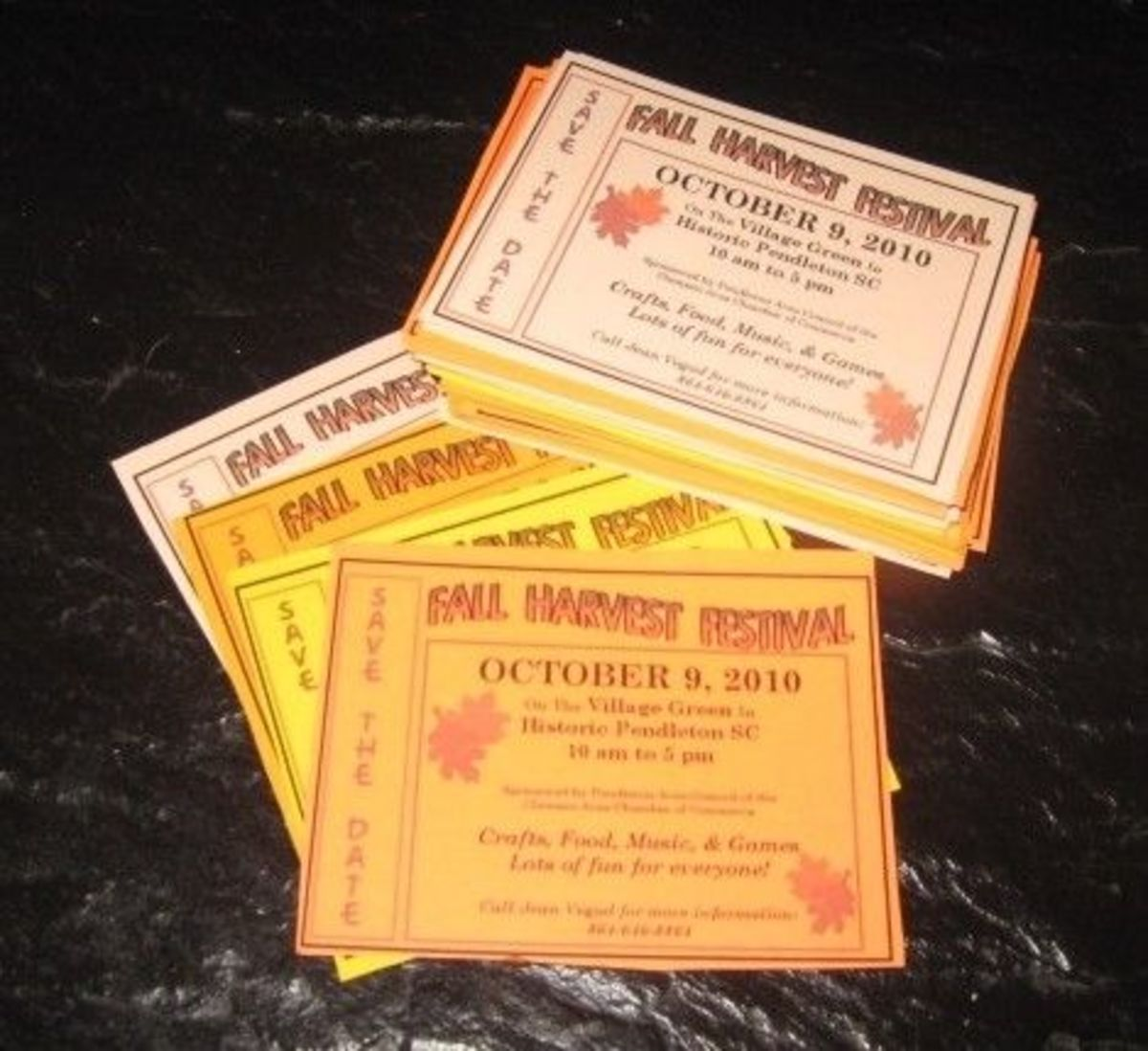 """Save The Date"" cards for Fall Harvest Festival have been very helpful in the past and a great way to get people talking about the upcoming festival."