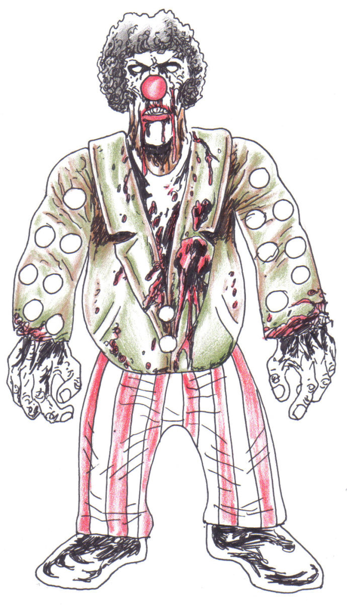 Zombie Clown Drawing By Wayne Tully.Copyright  2010 Wayne Tully