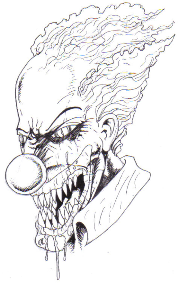 Inked Clown Drawing.Copyright  2010 Wayne Tully