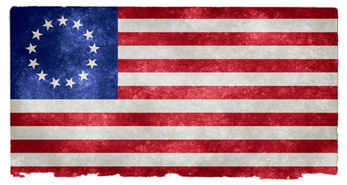 The original US flag had  thirteen stripes alternating red and white and a ring of thirteen white stars set on a field of blue.