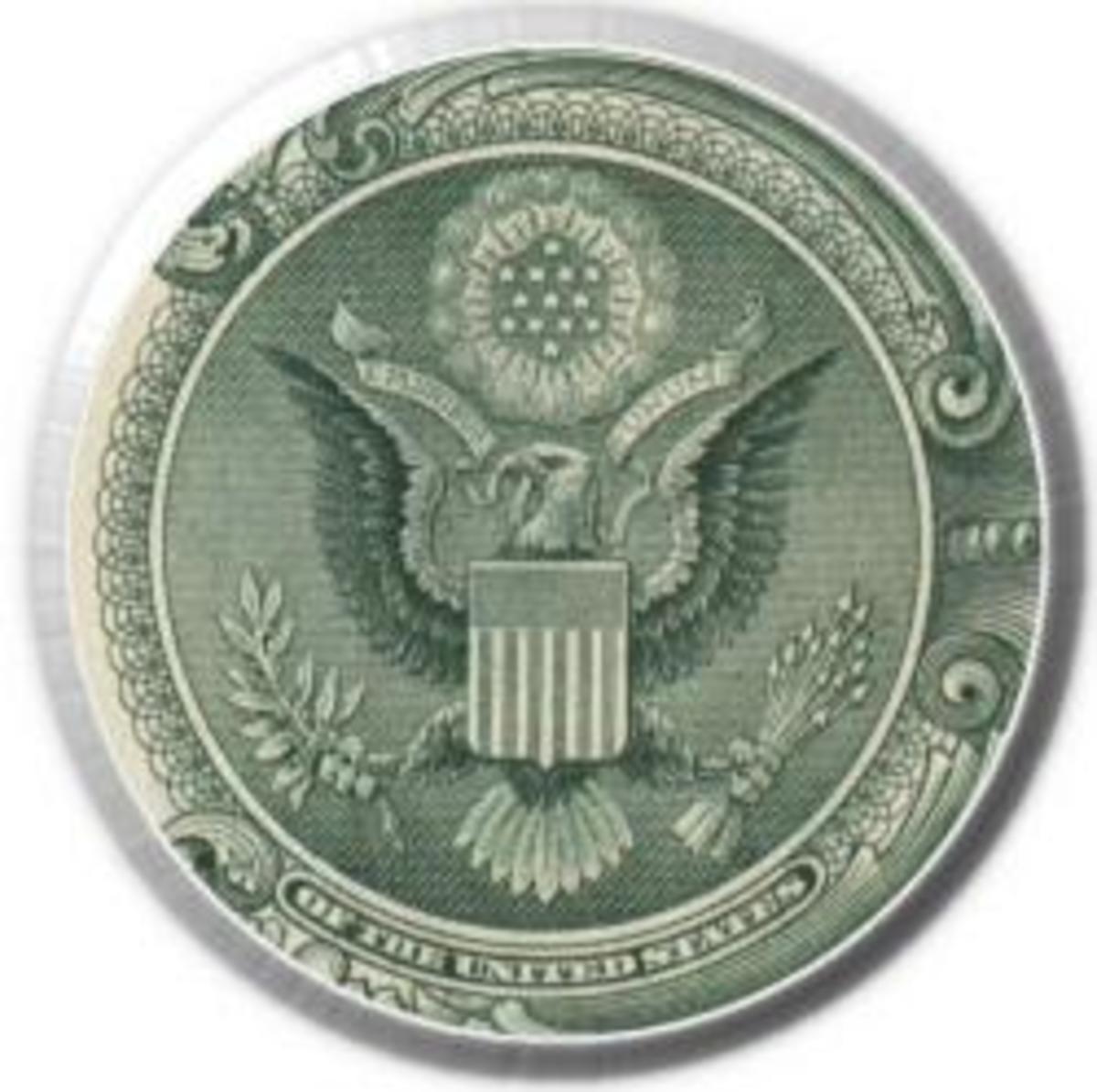 10 dollar bill secrets. at a one dollar bill on a