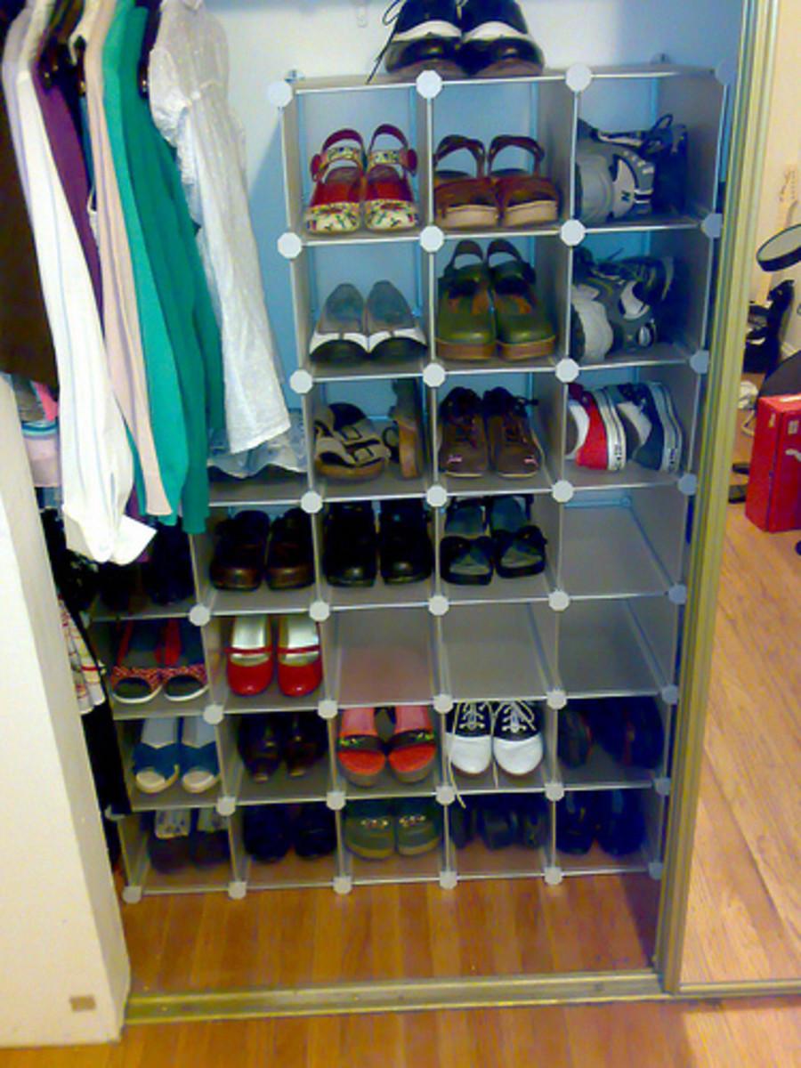 closet shoe organizer racks and storage