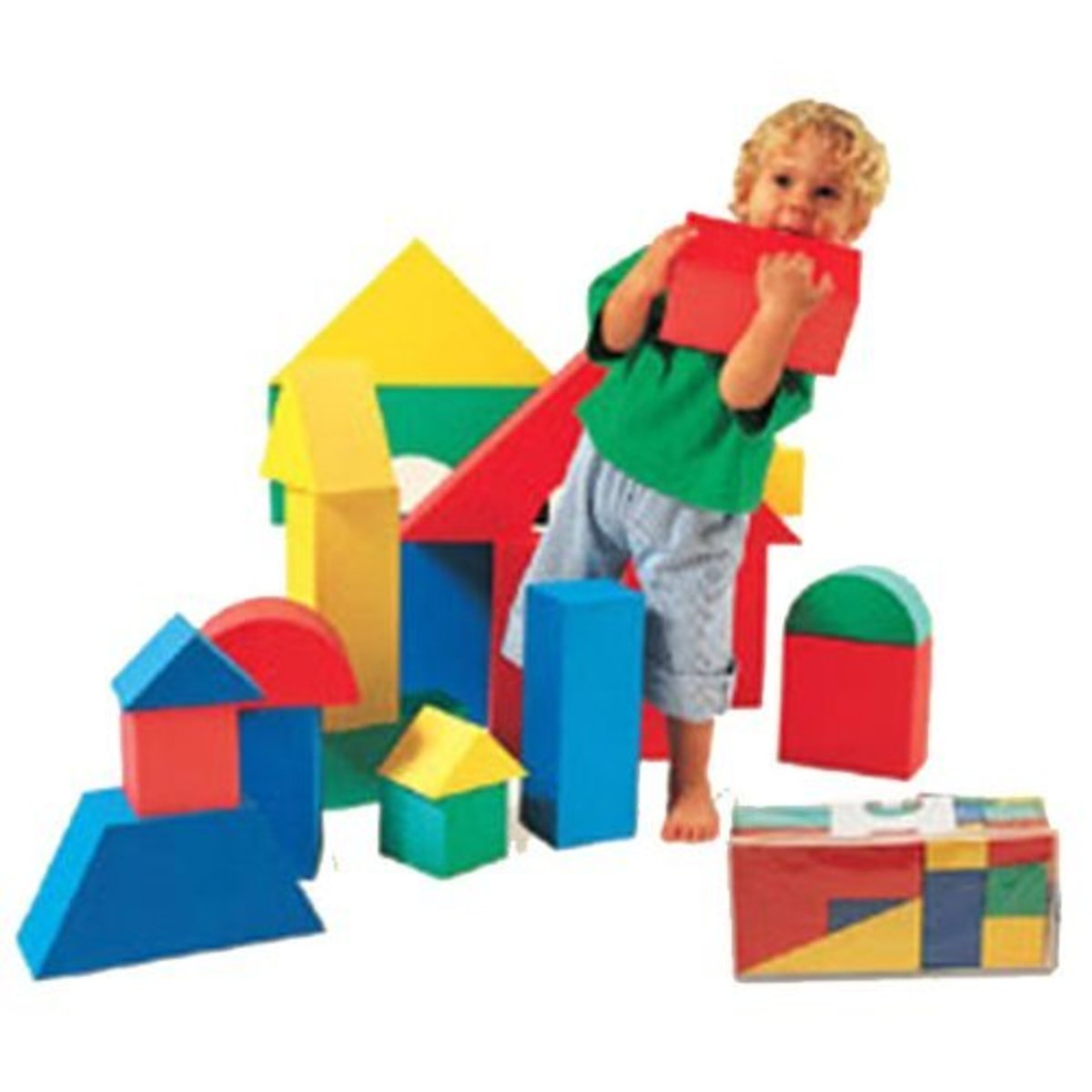 Giant foam blocks are easy for toddlers to manipulate and they come in a variety of appealing shapes and colors.
