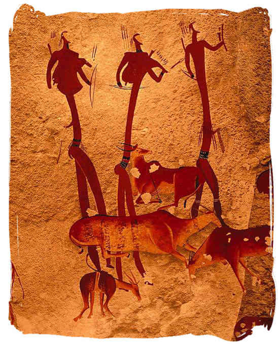Bushmen paintings are found on rocks and in caves throughout Southern Africa, which shows that they originally occupied the whole region.