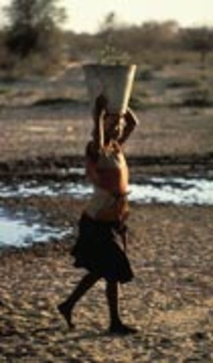 Bushman woman carrying water