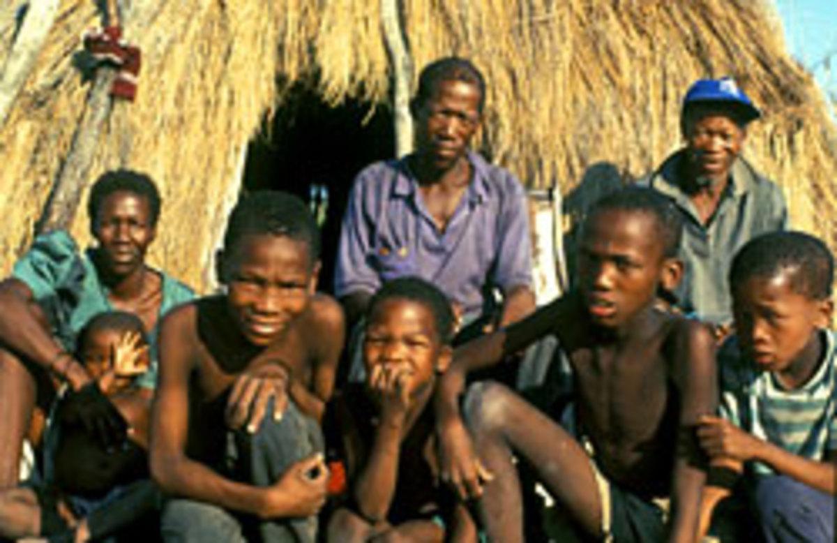 Bushmen in the village in Gope, Botswana.