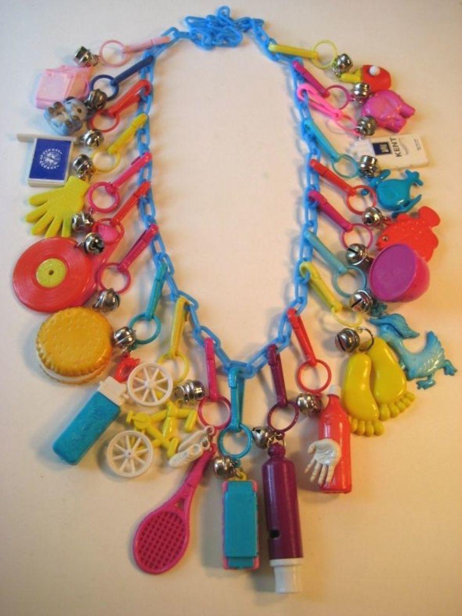 1980s Plastic Charm Necklace