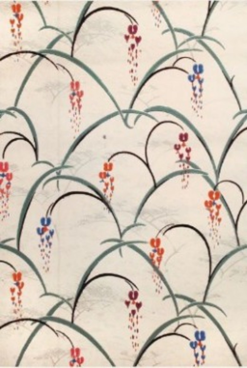 """Bleeding Hearts"" Wallpaper Design by Charles Burchfield 1929"