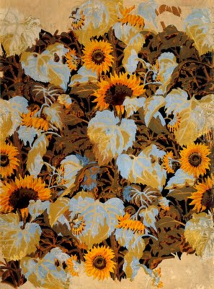 """Sunflowers"" Wallpaper Design by Charles Burchfield 1921"
