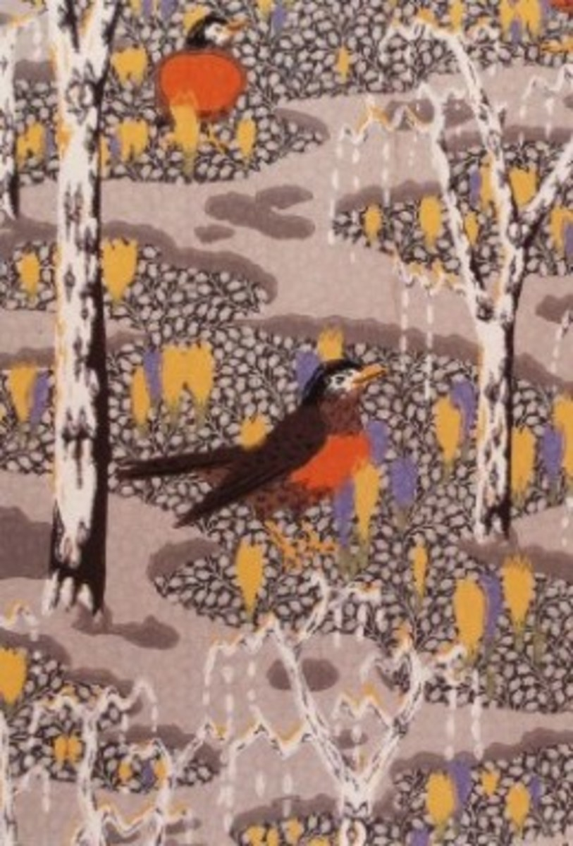 """Robins and Crocuses"" Wallpaper Design by Charles Burchfield 1929"