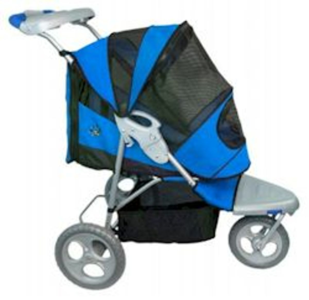 The Sportster Dog Stroller for dogs up to 45 pounds.  With easy front and back entries that zip for quick access.