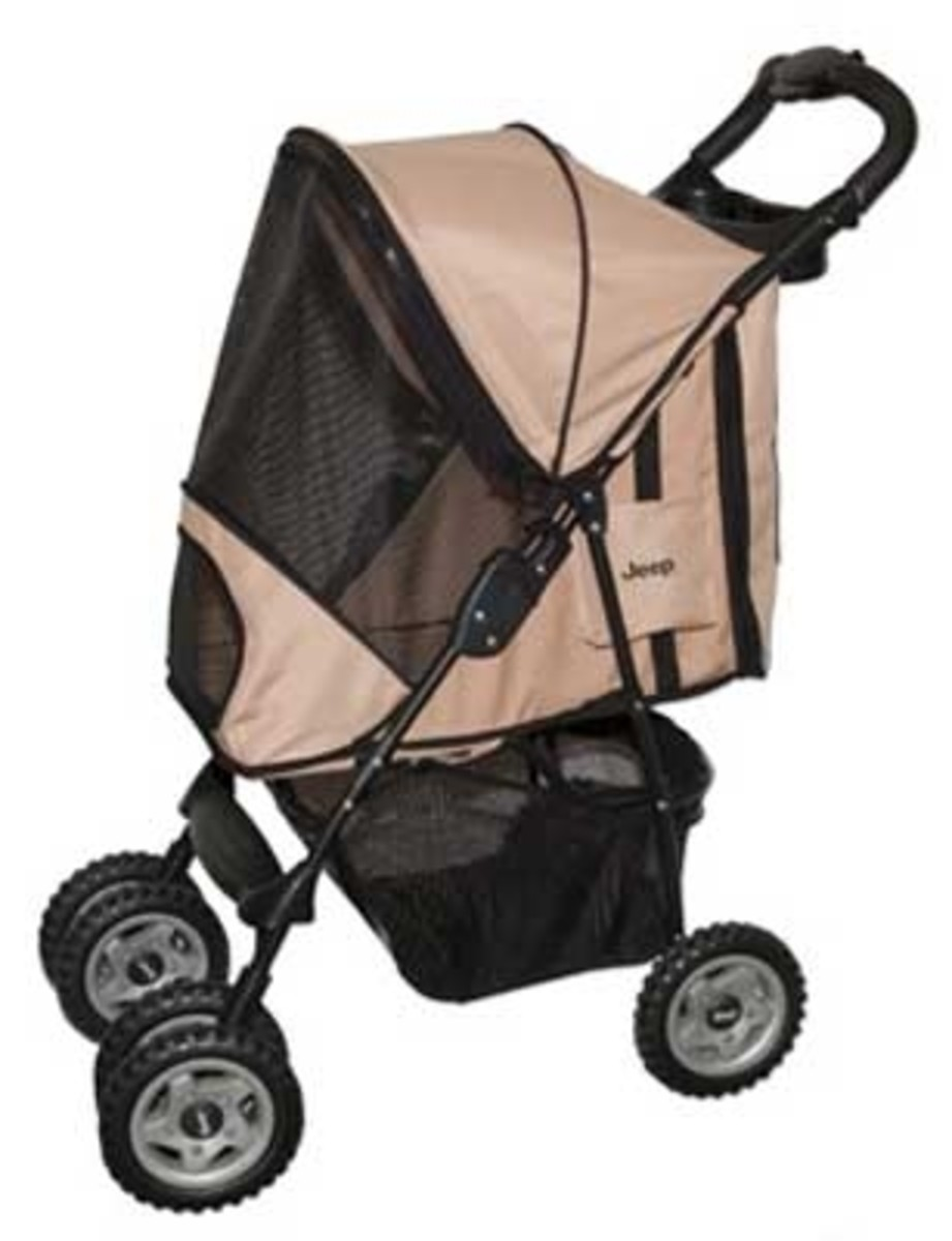 Jeep Dog Stroller, dogs up to 30 pounds, tough and rugged and fold flat for easy storage.