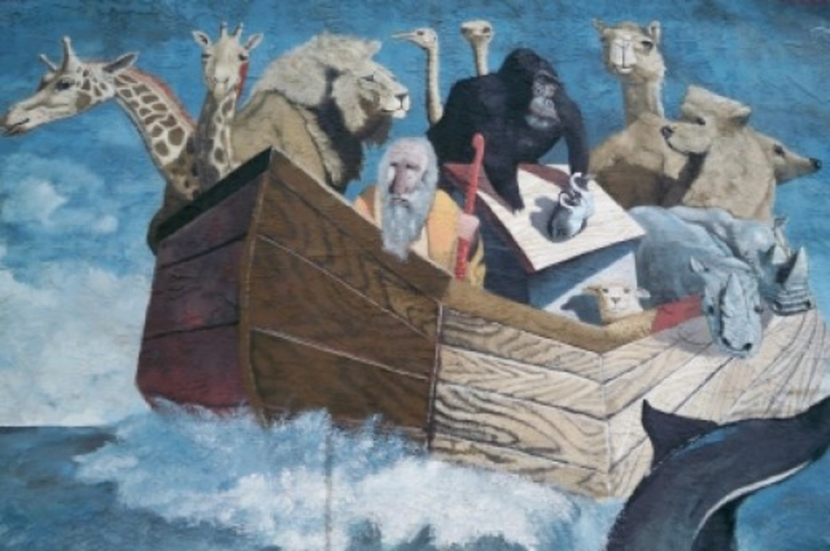 Sorren's painting of Noah and his ark on the Midgely Building