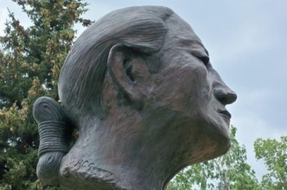 World-renowned artist R.C. Gorman created this bust of a Navajo Codetalker, 1995.