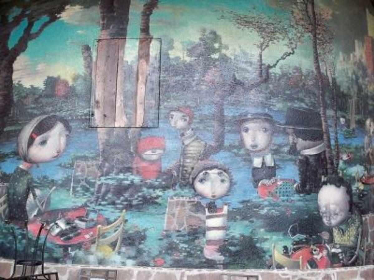 "Joe Sorren's Mural in Heritage Square, titled, ""The Veridic Gardens of Effie Leroux"""