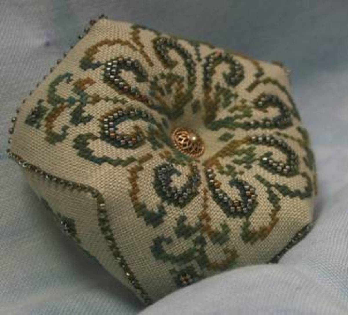 Bead Embellished Embroidered Pillow