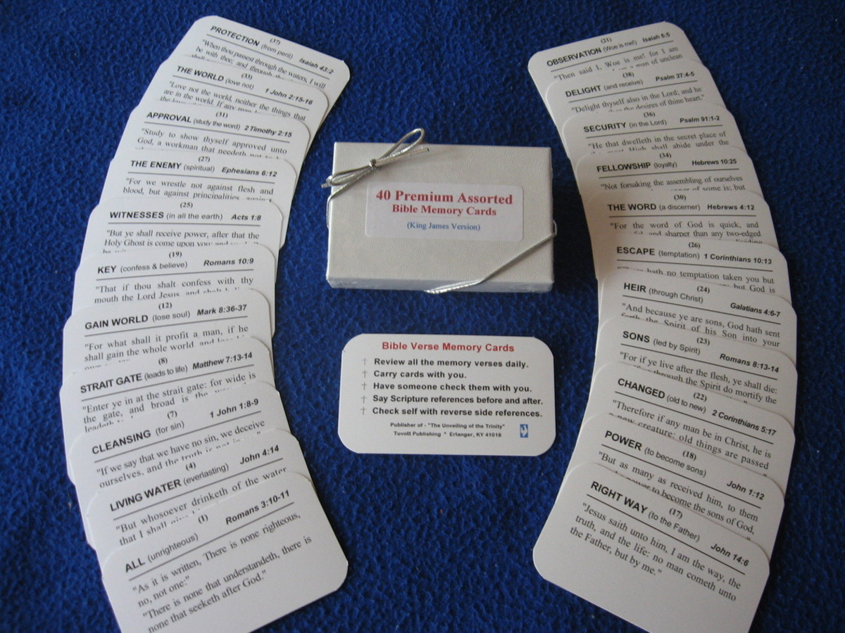 Bible Memory index cards that help with memorizing verses of the Bible.