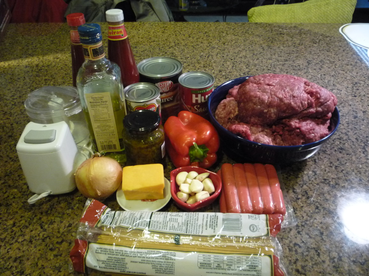 Ingredients for Filipino spaghetti
