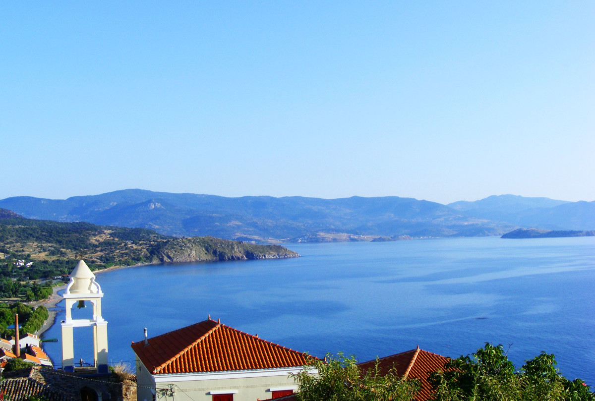 "The view of the Aegean from the veranda at the ""Schoolmistress with the Golden Eyes"" pension in Molyvos, Lesbos"