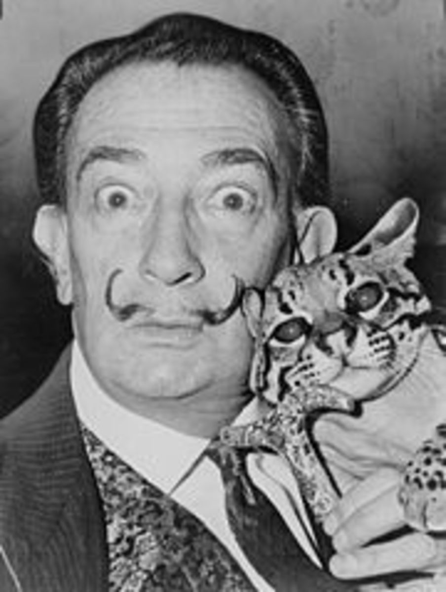 Salvador Dali and pet Ocelot.  Photo, Wikipedia.
