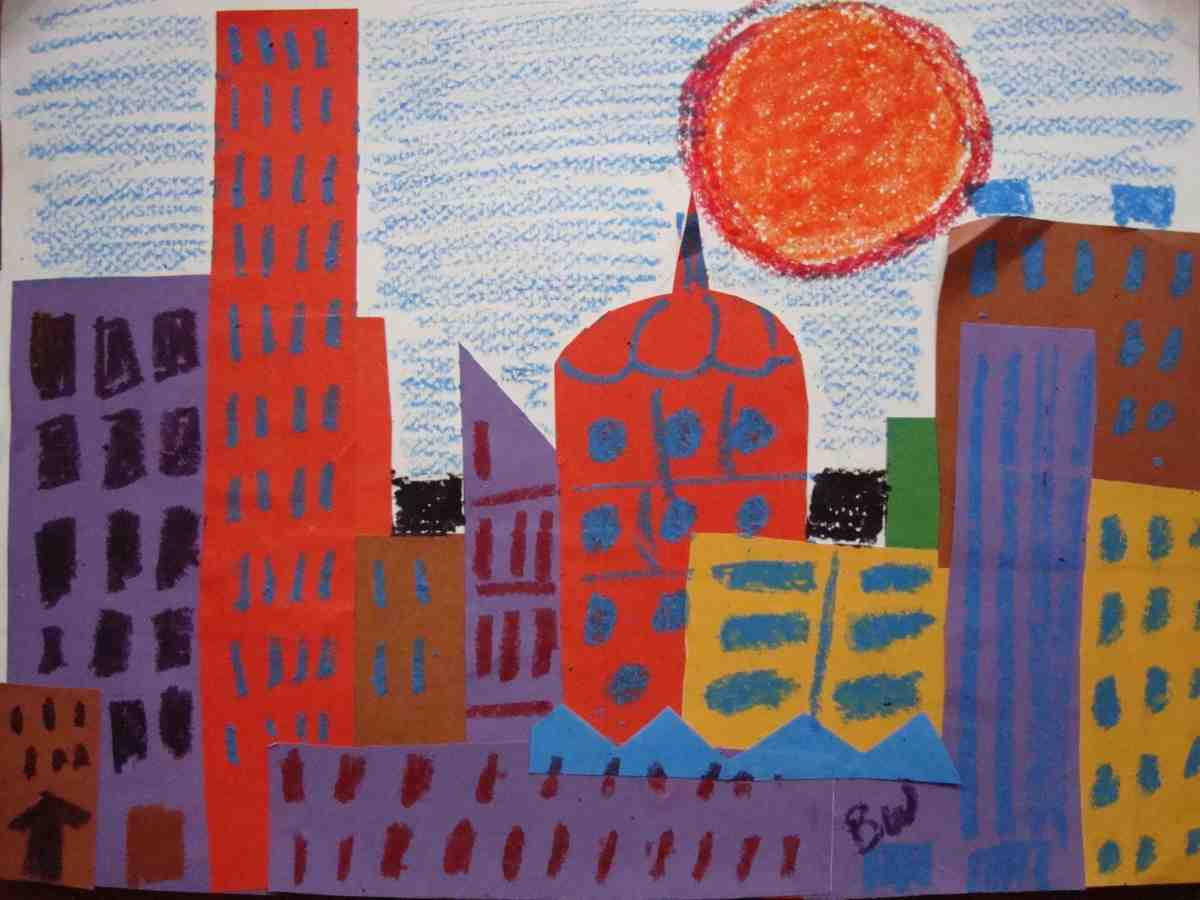 kids-art-project---build-a-collage-city