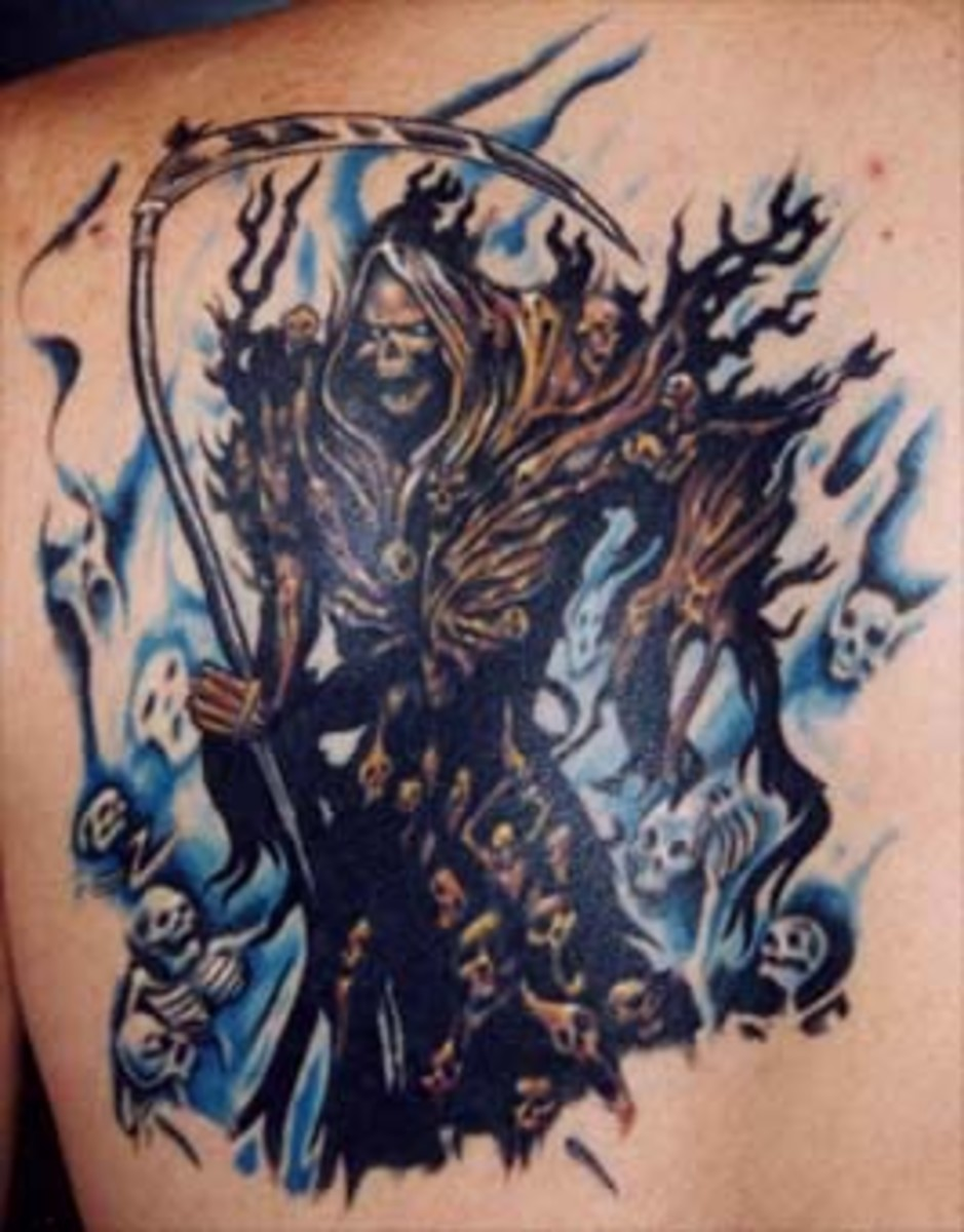 Grim Reaper tattoo with souls behind him
