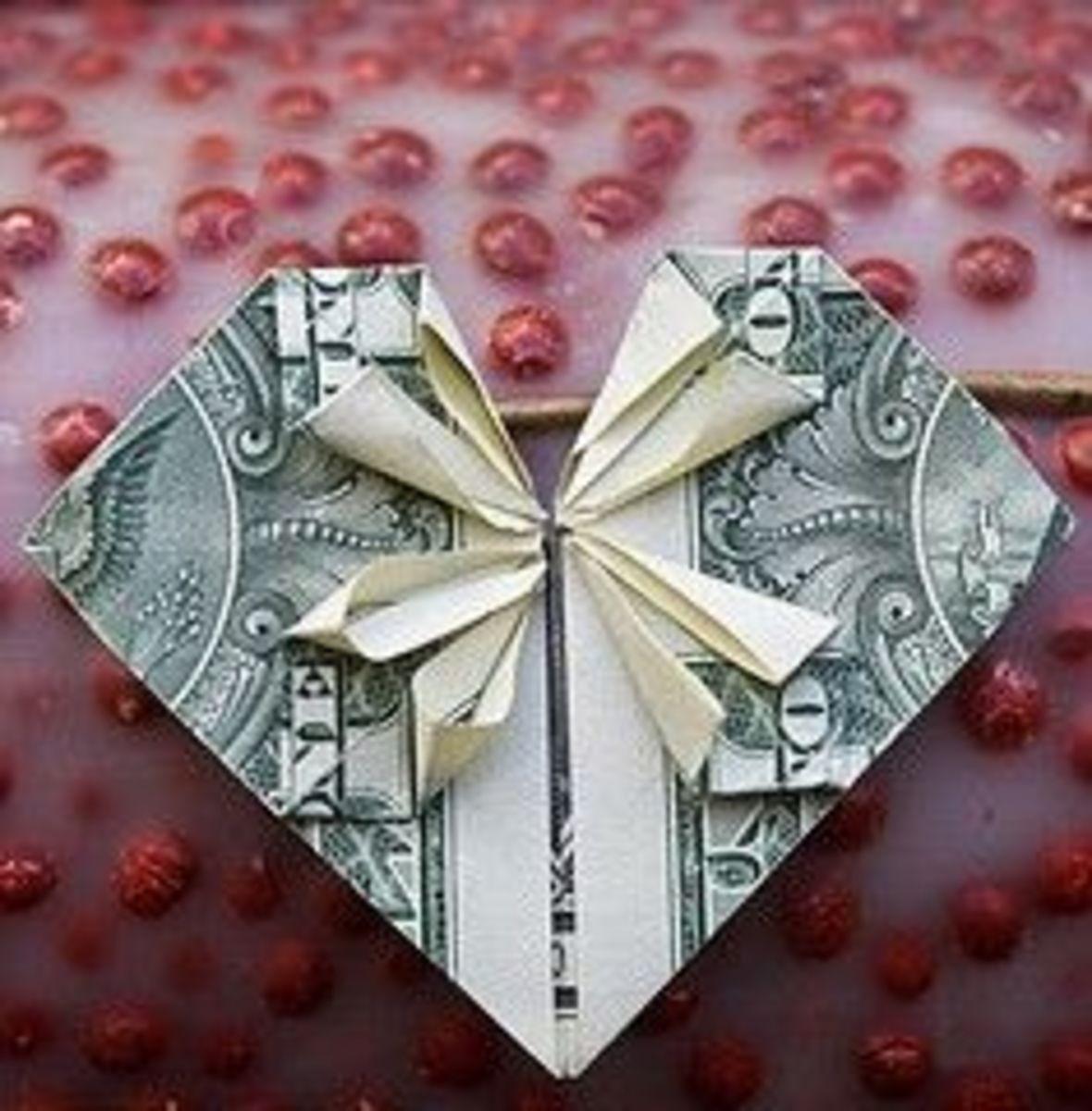 Dollar Bill Heart for a money tree