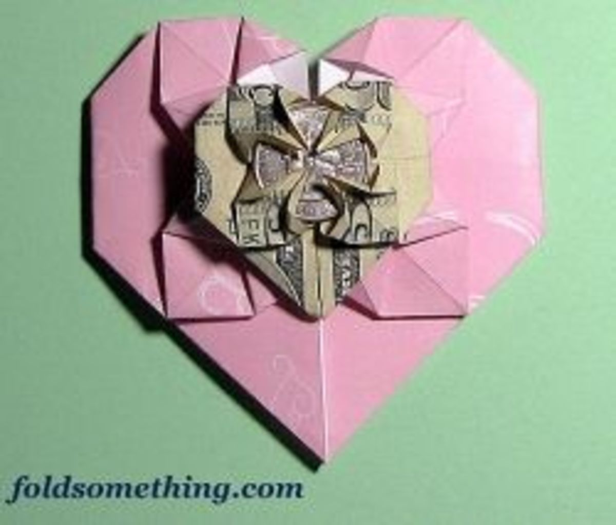 origami money heart to put on a money tree from foldsomething.com