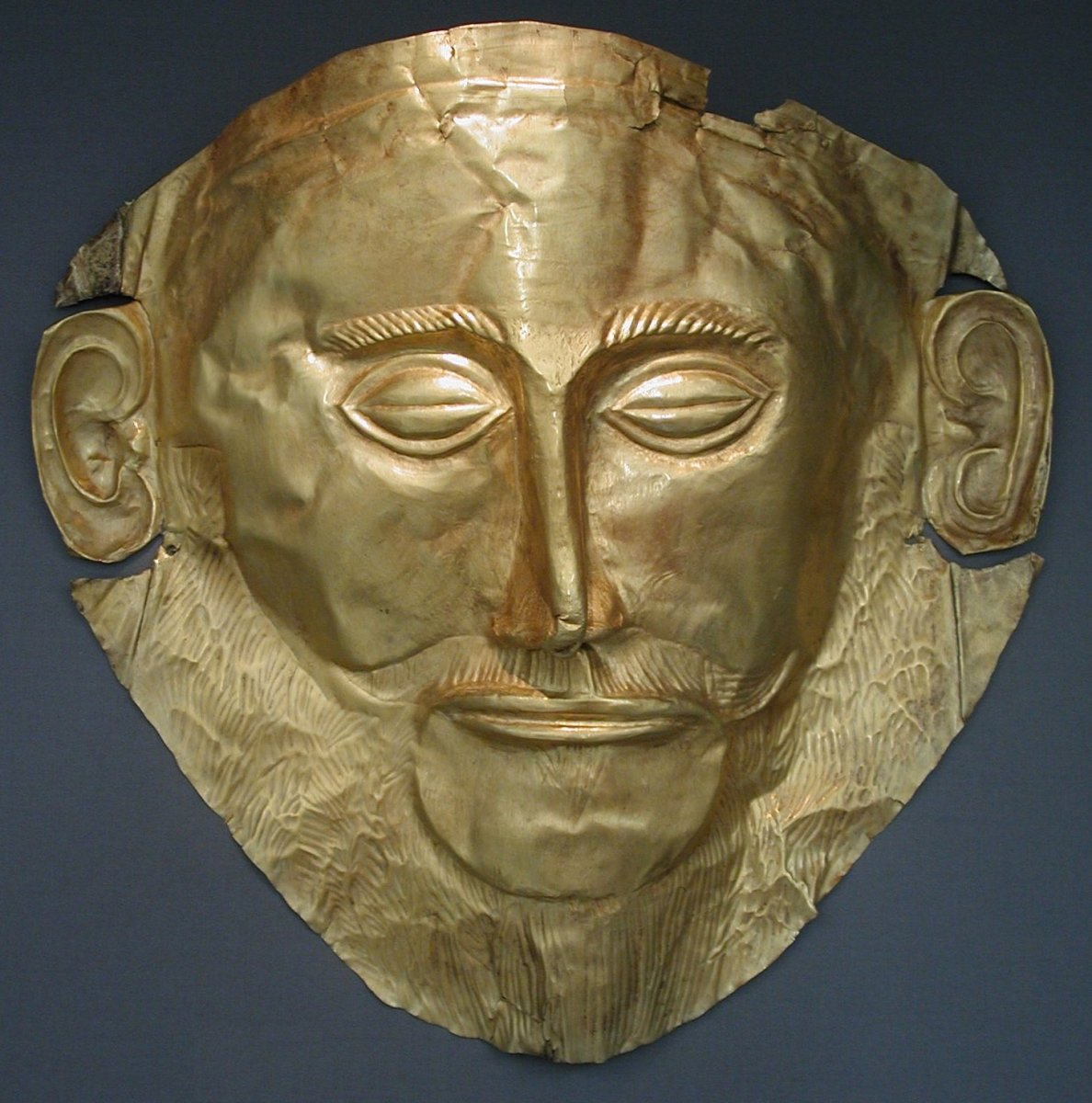 The Mask of Agamemnon, Discovered by Heinrich Schliemann in 1876 at Mycenae.