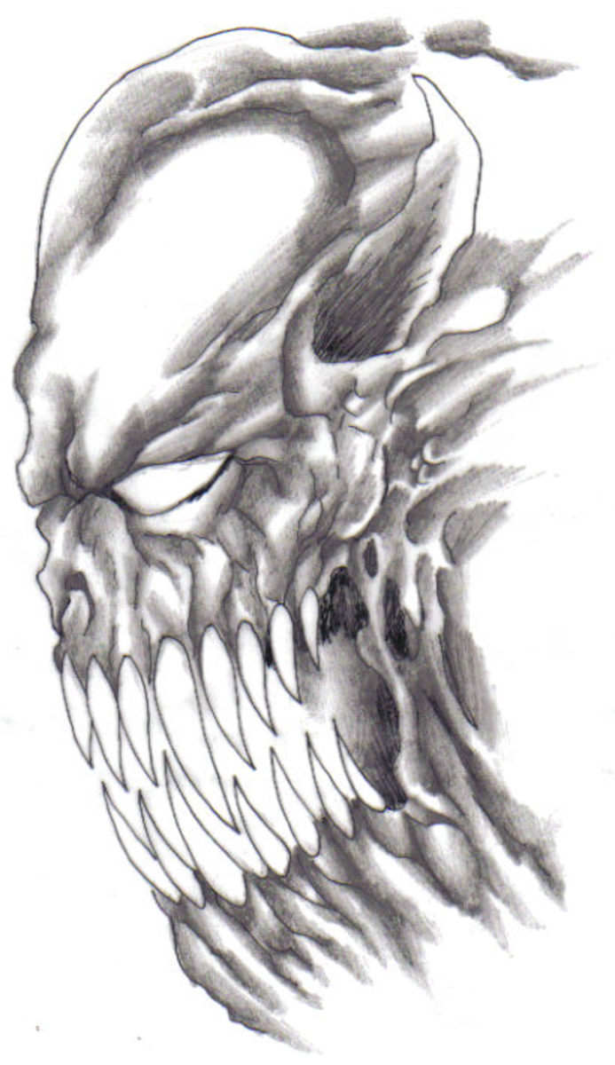 Drawing A Scary Demon. Demon Art By Wayne Tully Copyright  2010