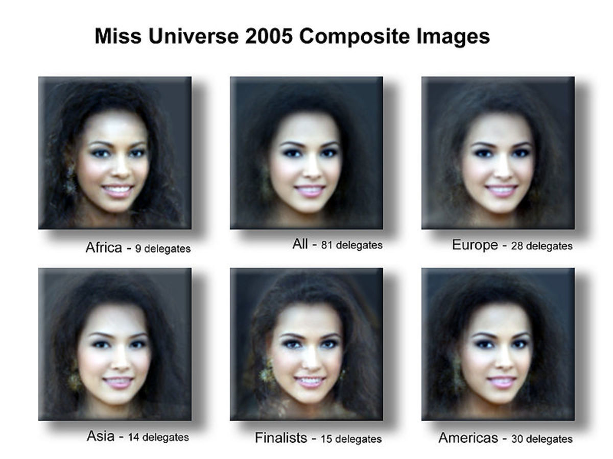 "This image shows superimposed images of all the delegates from Miss Universe, creating a ""universal"" look where all the features are combined."