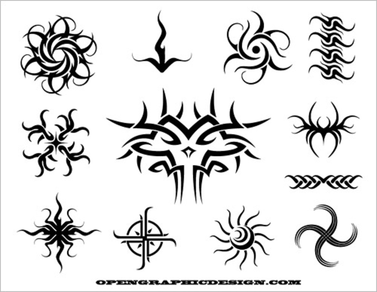 Tribal Tattoos Sample Sheet Copyright Opengraphicdesign.com