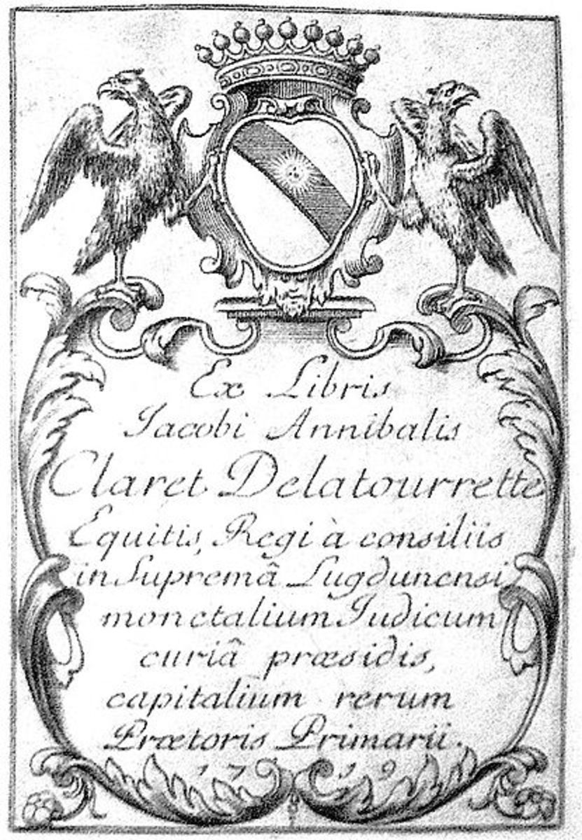 Typical bookplate from 18th Century
