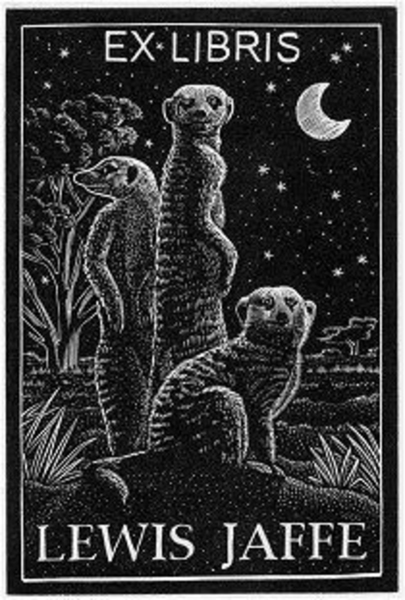 Modern meercat bookplate in woodcut style.