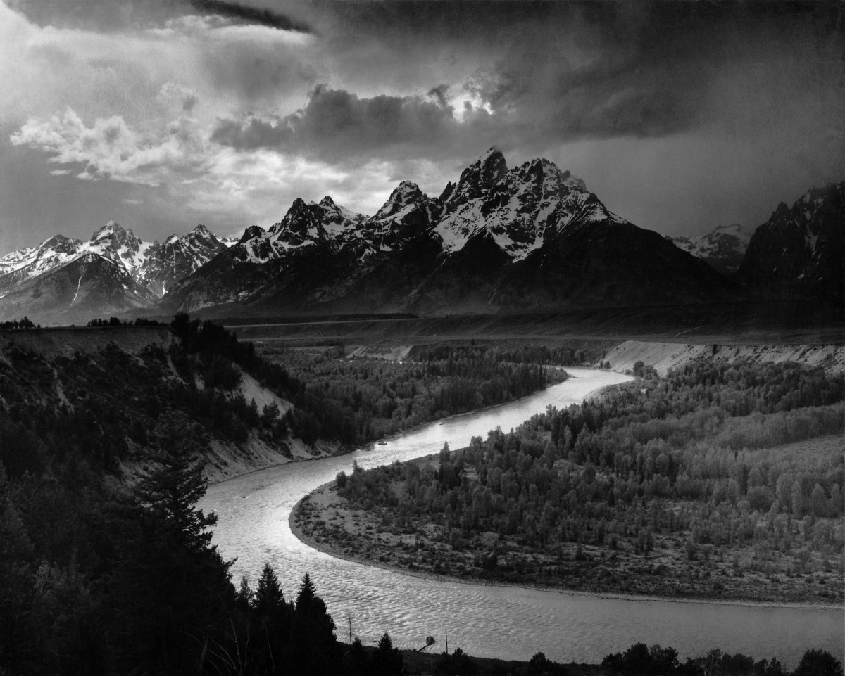 """""""THE TETONS AND THE SNAKE RIVER"""" BY ANSEL ADAMS IN 1942"""