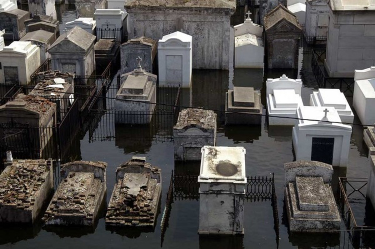 One of the flooded New Orleans Cemeteries during Hurricane Katrina